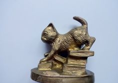Vintage Brass Cat Figurine 1970s by WylieOwlVintage on Etsy, $18.00