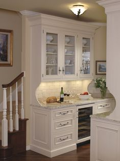 Built In Kitchen Hutch With Glass Doors Transitional Kitchen Kitchen Pinterest Fronts Nooks And Breakfast Nooks