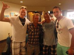 Scott Caan, Egan Inoue and Alex O'Loughlin with unknown person.