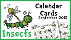 September Calendar Printables insect theme