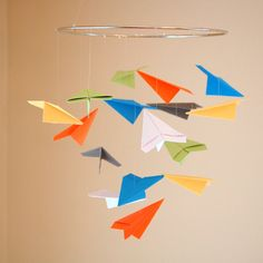 Cute Paper Airplane Mobile  Choice of by SugarAndSpiceStudios, $35.00
