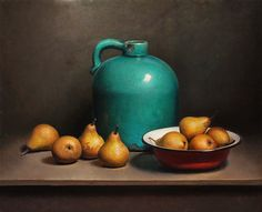 #oil #painting - Still Life with Pears and Green Bottle by Jos van Riswick