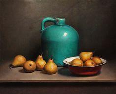 Painting: Stilleven met peren en groene fles