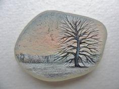 Snow at sunrise original acrylic miniature by Alienstoatdesigns, $29.00