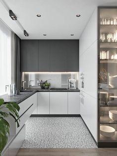 Kitchen Room Design, Kitchen Cabinet Design, Modern Kitchen Design, Home Decor Kitchen, Interior Design Kitchen, Home Kitchens, Small Modern Kitchens, Kitchen Cabinets, Modern Design