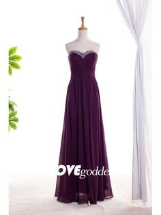 2015 Plum Chiffon Sweetheart Evening Gown With Beading
