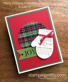Christmas Around the World DSP & Many Mittens Framelits Dies Christmas Card. Read more https://stampinpretty.com/2017/08/many-mittens-framelits-dies-christmas-card.html