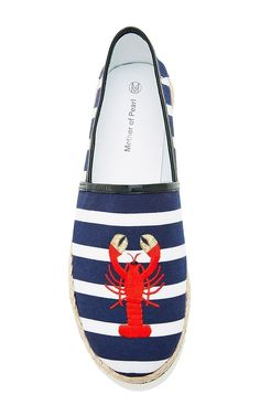 Striped Lobster Embroidered Espadrilles by Mother of Pearl - Moda Operandi Lobster Party, Lobster Fest, Nautical Fashion, Nautical Style, My Wife Is, Sport Casual, Espadrilles, Kitten Heels, High Heels