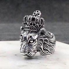 Men's Sterling Silver Lion King Ring