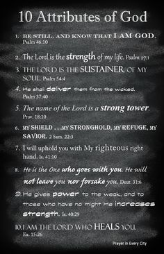 10 Attributes of God. Great page to add to your Family Photo Prayer Journal