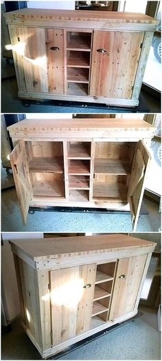 Here you can see buffet in pallets, there is a space to place the items inside the closed cabinet to keep them safe from the damage. There is also some space to place the items for displaying as the space is without the door. Wood Pallet Furniture, Furniture Projects, Rustic Furniture, Wood Pallets, Wood Projects, Woodworking Projects, Diy Furniture, Kids Woodworking, Internal Wooden Doors