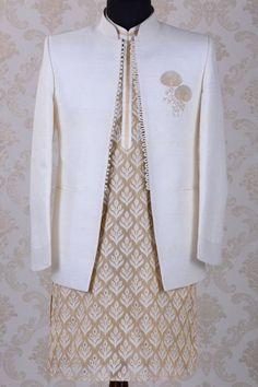 Buy Jodhpuri Suit-Off White-Zari Work Online Samyakk Bangalore Indian Wedding Suits Men, Indian Wedding Clothes For Men, Sherwani For Men Wedding, Mens Indian Wear, Indian Groom Wear, Indian Men Fashion, Indian Bridal Outfits, Couple Wedding Dress, Wedding Outfits For Groom