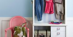Mudrooms help organize your out-the-door essentials in a convenient spot. Don't have a mudroom? Create your own with our DIY mudroom ideas. For existing mudrooms, browse our photos of amazing mudroom storage ideas for more organization inspiration. Small Apartments, Small Spaces, Hallway Storage, Mudroom Shelf, Door Storage, Bookshelf Storage, Simple Bookshelf, Small Bookcase, Cheap Bookcase