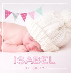Geboortekaartje voor een meisje met foto en vlaggetjes. Gebruik deze kaart en maak hiervan zelf je eigen persoonlijke geboortekaartje. Wil je de kaart door ons laten opmaken? Geen probleem, wij helpen je graag!