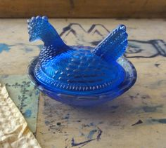 Vintage Salt Cellar Blue Glass Hen