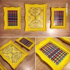 """Quadro de tecido com moldura de """"rococó"""" (kkk) para o quarto da Isabelinha! Ficaram super delicados! Ela amou! #myyellowbox #artesanato #handmade #terapia #tecido #isabelinha"""