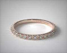 14208R14 | Thin French Cut Pave Set Diamond Eternity Wedding Ring | 14K Rose Gold - Mobile
