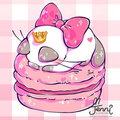 Sleeping Princess . . . #sleepingcat #princess #macaronlove #macarons #dessert #foodart #foodanimals #jennilustrations