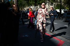 The Very Best Street Style from Paris Fashion Week, Light colored Floral Matching Suit | coveteur.com