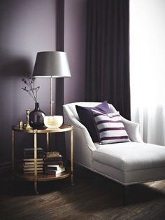 (1) Love purple but not ready for full saturation? Try this look balanced with metals and neutrals. Still rich and beautiful but does not need as much of a commitment to the colour.  Change your wall colour to your next favourite colour and reay to move on to your next look.