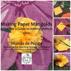 Step by step instructions for making paper marigolds from a teacher's perspective, with word for word instructions. of the Dead de los Muertos Mundo de Pepita, Resources for Teaching Spanish to Children Elementary Spanish, Spanish Classroom, Classroom Ideas, Spanish Projects, Class Projects, Art Projects, Spanish Club Ideas, Hispanic Culture, Hispanic Art