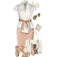 """""""White and Pink"""" by grachy on Polyvore"""