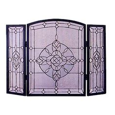 Decor, Stain, Glass Fireplace, Stained Glass Fireplace Screen, Screen, Glass, Fireplace, Glass Fireplace Screen