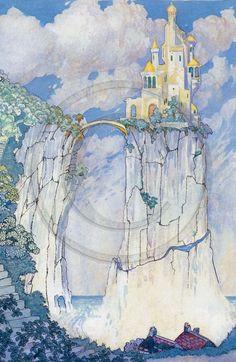 Fairy Tale Castle 1920s Art Print by mattyhandmadecrafts on Etsy, $25.00
