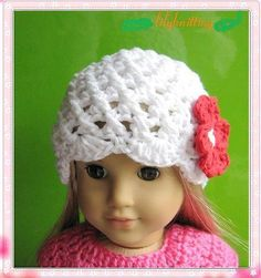 PATTERN in PDF-- Crocheted doll beanie hat for American Girl Gotz or similar 18 inches dolls (Doll Hat 23)