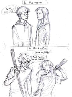 Harry Potter and Ginny Weasley: books vs movies Ginny Weasley, Harry Y Ginny, Harry Potter Fan Art, Harry Potter Universal, Harry Potter Fandom, Harry Potter Memes, James Potter, Potter Facts, Fan Art Percy Jackson