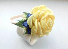 Yellow Hair Flower.Kanzashi Hairband.Unique Head Band.Girls Bithday gift.Flower Girls Gift.Rose Headband.