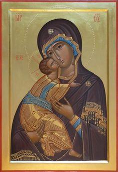 Theotokos of Vladimir Religious Icons, Religious Art, Middle Age Fashion, Byzantine Icons, Madonna And Child, Art Icon, Orthodox Icons, Sacred Art, Virgin Mary