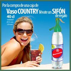 El vaso Country es perfecto para disfrutar de  tu bebida preferida. Además ahora viene acompañado de un sifón de regalo para que puedas servir las bebidas más refrescantes sin que pierdan burbujas.