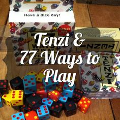 77 Ways to Play Tenzi (goes with Tenzi Dice Game ) What You Get: Tenzi Dice Game: 4 sets of 10 dice and instructions 77 Ways to . Dice Games, Math Games, Math Activities, Fun Games, Games To Play, Family Game Night, Family Games, Casino Theme Parties, Casino Party