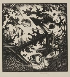 The Lost Anchor 1936 Artist: Robert John Gibbings British, 1899 - 1958 Dimensions: Overall: 9 x 8 1/2 in. (22.86 x 21.59 cm) Medium: Wood engraving Credit Line: Dallas Museum of Art, gift of Violet Hayden Dowell