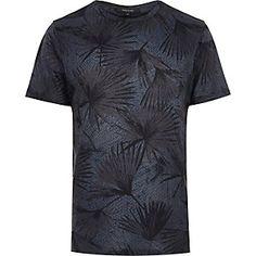 Navy large leaf print t-shirt