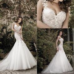 2014 Sexy Vintage Garden/Beach Handmade Flower Backless Wedding Dresses 2014 Prom White Lace Organza Spaghetti Lace Mermaid Wedding Dresses