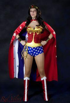 Wonder Woman costume with Side Zip Corset, Star Print Bottoms, Gold Tiara, Gold Cuff Bracers XS - XL