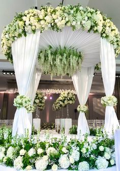 Weddings and event flowers - Mary Jane Vaughan Gazebo Wedding Decorations, Wedding Chuppah, Romantic Wedding Receptions, Rustic Wedding Backdrops, Marriage Decoration, Deco Floral, Side Yards, Front Yards, Hillside Landscaping