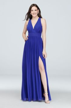 1844bece863 Stretch Mesh V-Neck Gown with Open Back Detail Style 130358