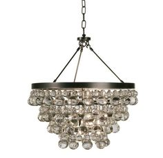 A funky, modern take on a crystal chandelier.  The Bling Chandelier from Robert Abbey