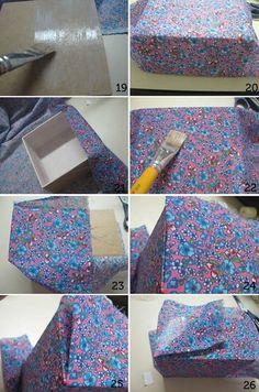 Como revestir caixa de MDF com tecido e decorar com decoupage                                                                                                                                                      Mais