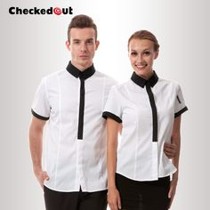 Checkedout Work wear new arrival Chef uniform cook jacket Top quality chef clothes Hotel Uniform, Kellner Uniform, Waitress Outfit, Waiter Uniform, Work Uniforms, Staff Uniforms, Uniform Design, Nursing Clothes, Apron