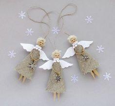 Burlap Christmas Angels Set of