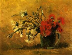 Vase with Red and White Carnations on Yellow Background. Paris, Summer 1886 Size 40 x 52cm