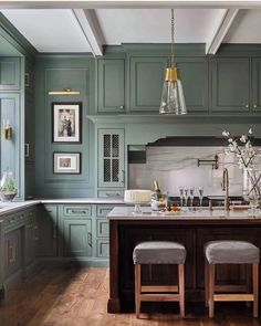"""Chairish By Design on Instagram: """"Never met a colored kitchen we didn't love 😍 {#architecture by @cbrandoningram, #interiordesign by @bradley.odom, 📷 by…"""""""