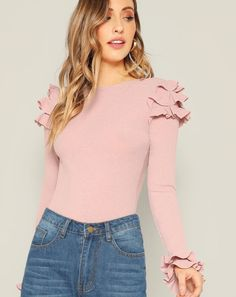 SHEIN offers Layered Ruffle Trim Rib Knit Tee & more to fit your fashionable needs. Fashion News, Fashion Outfits, Womens Fashion, Vetement Fashion, Ruffle Trim, Rib Knit, Ideias Fashion, T Shirts For Women, Long Sleeve