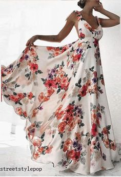 Large area printed sling long skirt, fabric comfortable and natural. Beach Wear Dresses, Sexy Dresses, Dresses With Sleeves, Off Shoulder Long Dress, Floral Embroidery Dress, Halter Bodycon Dress, Mid Length Dresses, Mesh Dress, Floral Maxi Dress