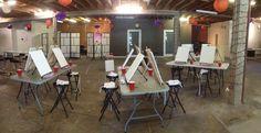 Your Art Party corporate paint party set up