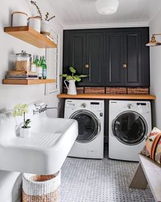 Laundry Room Is One Of Our Favorite Rooms–And Here's Why Monica Stewart Black and White Laundry Room.Monica Stewart Black and White Laundry Room. White Laundry Rooms, Farmhouse Laundry Room, Laundry In Bathroom, Basement Laundry, Laundry Closet, Laundry Decor, Laundry Room Floors, Small Bathroom, White Rooms